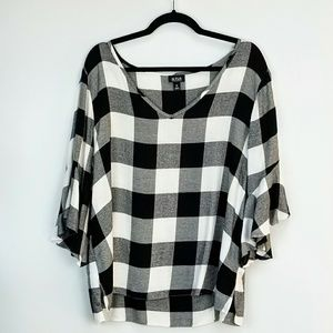 Gingham Pullover Top Fluted Sleeve Black White xl